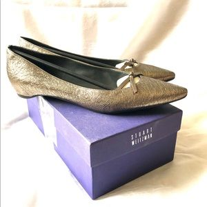 Stuart Weitzman Size 11 Cleavage Pewter Flats.